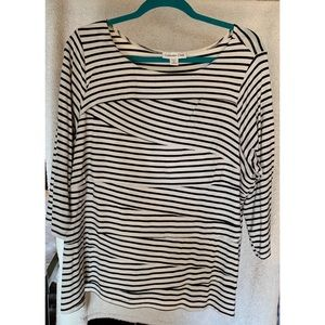 Coldwater Creek Striped 3/4 Sleeve Top